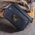 Men Fanny Pack Eagle Metal Mark Men Waist Bag Casual Wasit Pack Mobile Phone Bag Black Brown Coin Purse Wallet