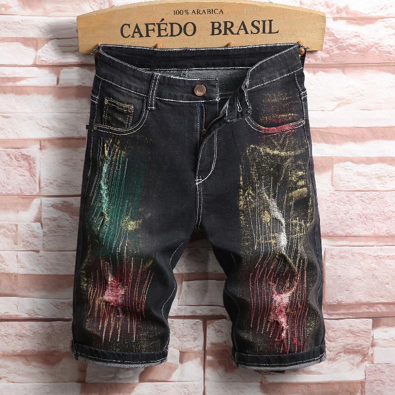 Summer Stretch Shorts Men 2019 Jeans Short Pants Elastic Denim Shorts Male Ripped Men's Short Motorcycle Painted Shorts Clothes