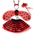 Xmas Children Girls Princess Bee Ladybug Wings Headband Magic Wand Skirt Cosplay Props Accessories Christmas