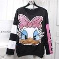 Pato Dos Desenhos Animados Lantejoulas Mulheres europeia Moda Outono Hoodies Camisolas Plus Size Drop-ombro Bordado Casual Tops 62563