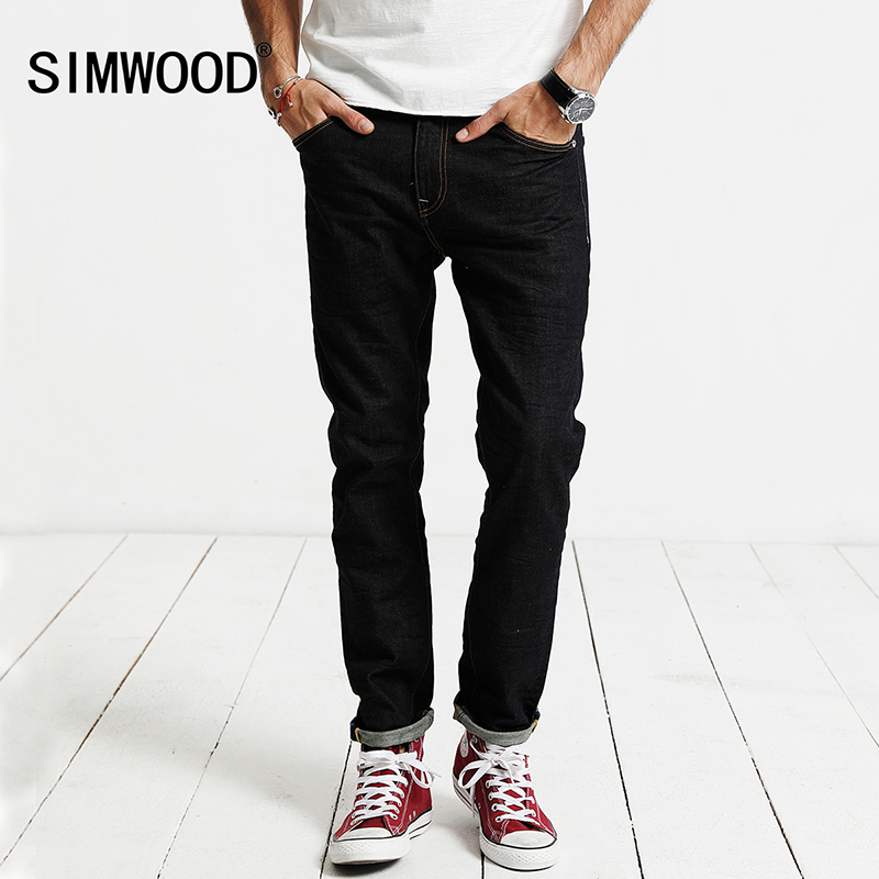 SIMWOOD Jeans Men 2017 Autumn  New Jeans Male Cotton Slim Fit Zipper Casual Denim Trousers  High Quality  Brand Clothing SJ6098 jeans men s blue slim fit fashion denim pencil pant high quality hole brand youth pop male cotton casual trousers pant gent life
