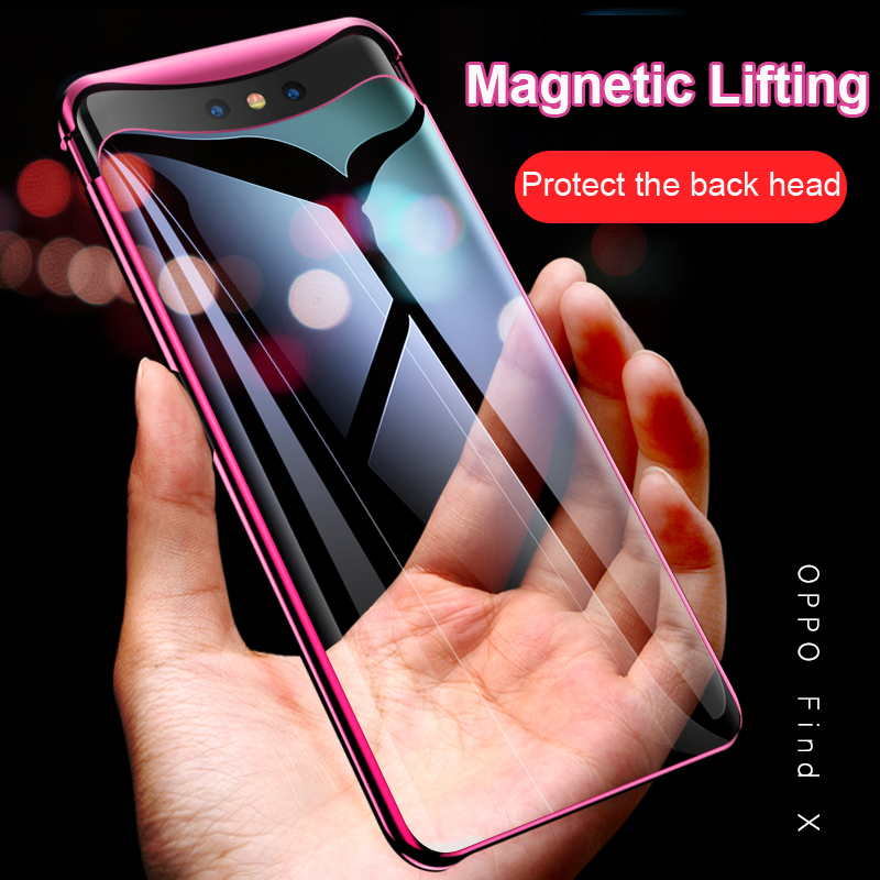 OPPO Find X Case Plating Transparent Magnetic Design Anti-shock Hard PC clear thin back Cover case for Oppo Find X fundas shell