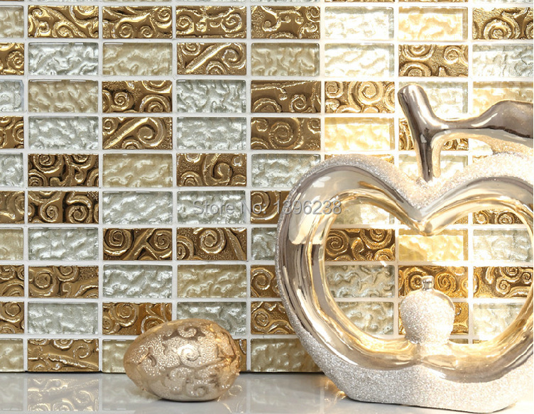 Gold Crystal Glass Mosaic Art Tile Wall kitchen backsplash Bath shower backdrop ceiling home decor sticker,Free shipping,LSTC012 rose gold stainless steel metal mosaic glass tile kitchen backsplash bathroom background decorative art mosaic wall tile sa073 9
