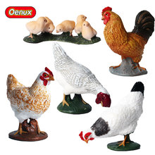 Oenux 5PCS Simulation Chicken Hens Rooster Farm Animal Figurines Garden Home Decoration Model Action Figure Kids Collection Toy