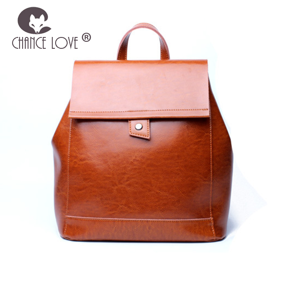 Chance Love 2018 new women's bag fashion casual backpack classic retro ladies backpack Genuine Leather women backpack female chance love bag female women 100