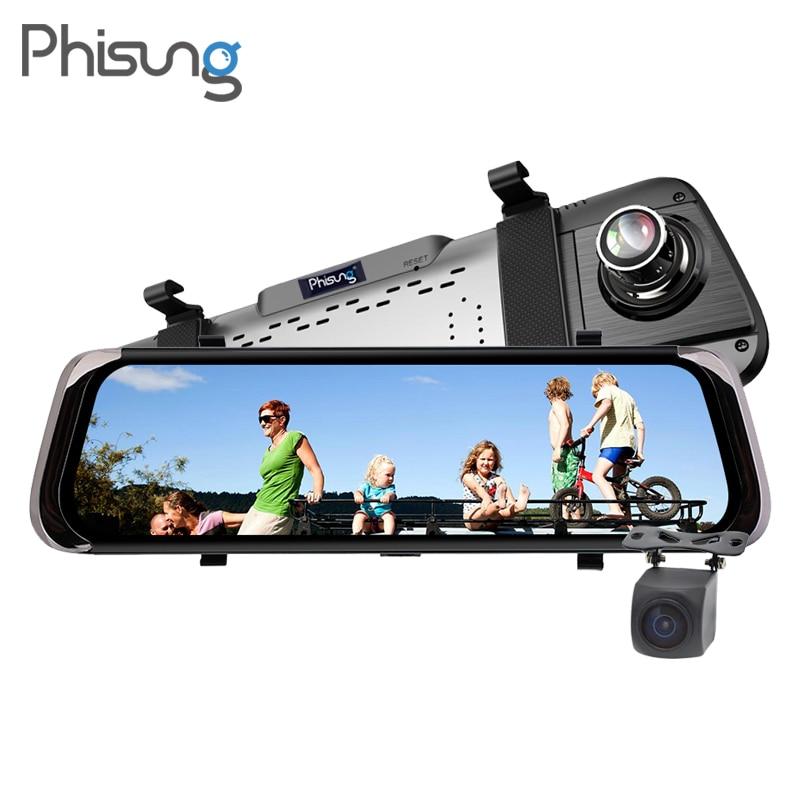 Phisung F800 10Touch Screen Registrar Recorder Night Vision car video recorder mirror 1080P drive recorder dash camera dual