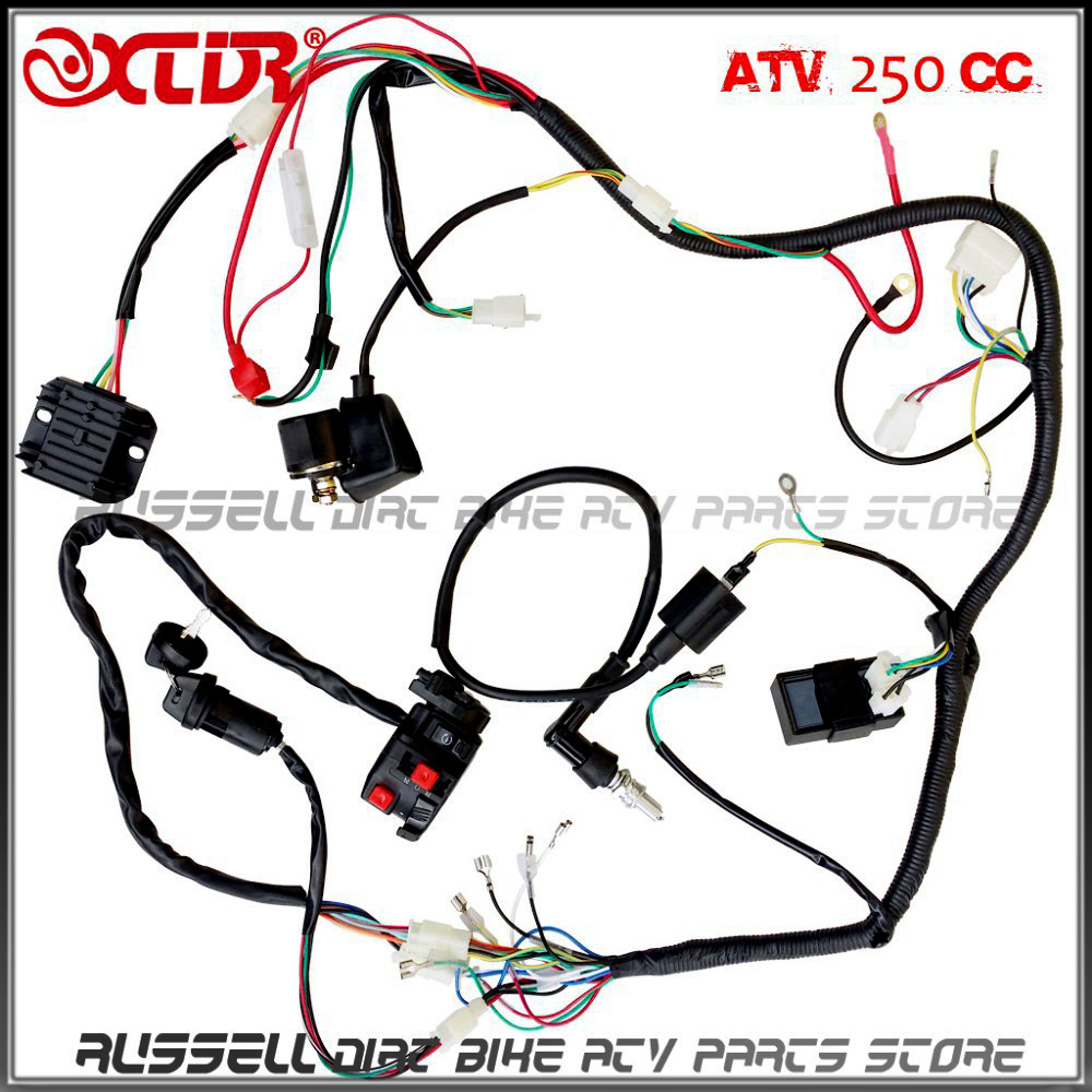 Plete electrics wiring harness atv quad 4 wheeler 200cc 250cc ignition coil cdi switch key rectifier