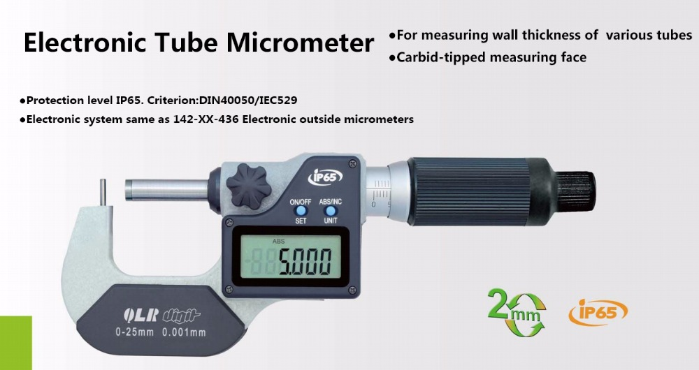 IP65 0.001mm Tipo impermeabile A B C D E F tubo elettronico micrometro misura rapida 0-25mm 25-50mm tubo digitale micrometro