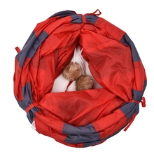 Cat Play Tunnel Red-Gray Foldable