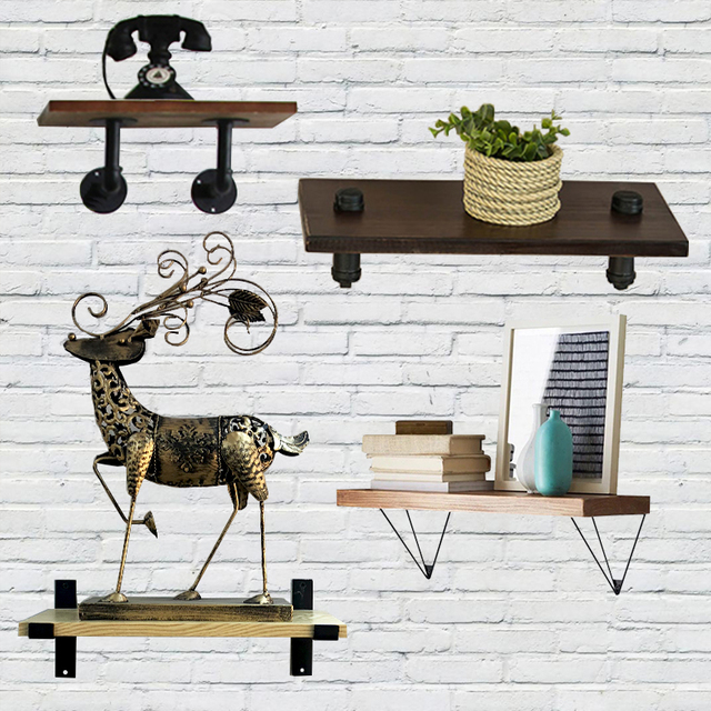 Wall Mounted Floating Shelves, Industrial Accent Shelf, Rustic Wood Wall  Storage Shelves For Bedroom
