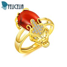 Felicelia Classic Pi Xiu Design Red Cubic Zirconia Crystal Ring For Women Girls Gold Tone Good Luck Symbol Wedding Ring Jewelry(China)