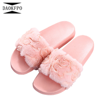 ФОТО daokfpo new arrivals women slippers platform plush home slipper non-slip female shoes 3d lace flowers shoes women nvt-04