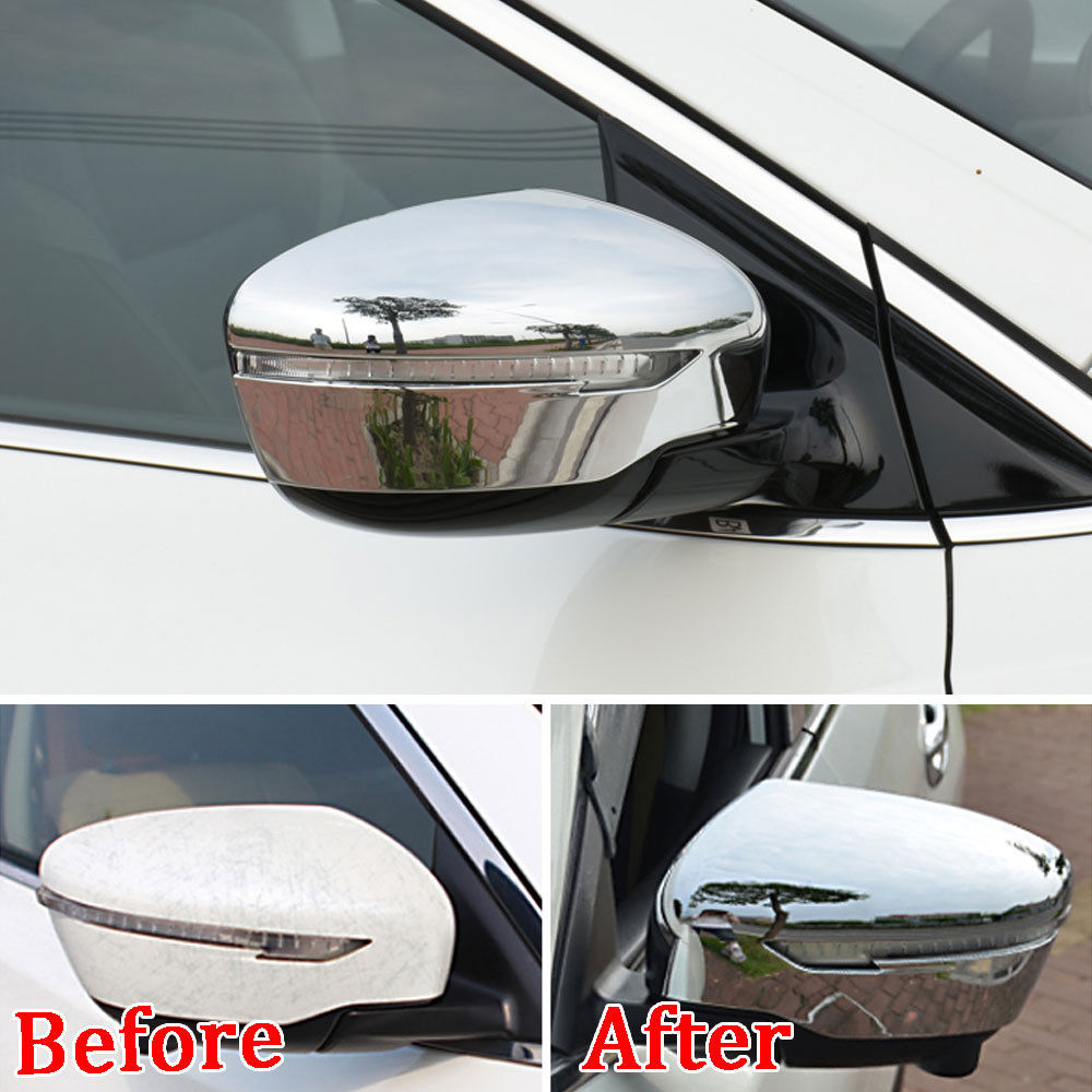 Chrome Rearview Mirror Cover Trim Cap Overlay For 2014-2017 Nissan Rogue X-trail