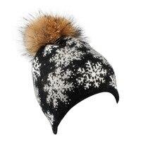נשים באיכות גבוהה 2017 מכירה חמה ChamsGend פתית שלג חורף פרווה צמר לסרוג כובע Beanie כובע חם Dropship 171030