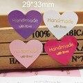 Самоклеящиеся этикетки ручной работы  100 шт.  в форме сердца  из фольги золотого/серебряного цвета  33*29 м
