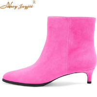 Black Pink Agatha Ankle boots Woman Shoes Pointed Elastic Band Low Heeled Dress Autumn 2019 Female Brand Large Size 12 9 Spring
