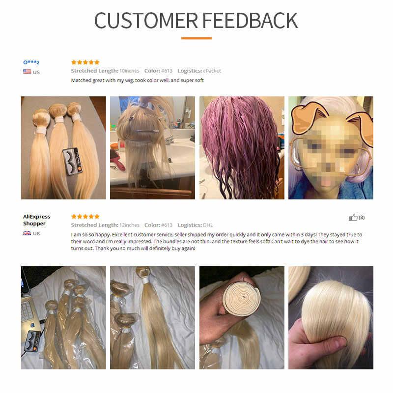 Натуральные бразильские Прямые Человеческие волосы Remy 3/4 пучков EUPHORIA блонд 613 бордовый красный цвет пряди волос на сетке