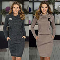 GZDL Fashion Style Autumn Winter Women Long Sleeve Turtleneck Dress Causal Party Bodycon Ladies Solid Sweater Mini Dress CL2948