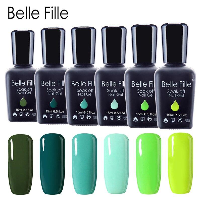 Belle Fille Nagel Gel Polnisch Grün Serie UV Lack Maniküre Make-Up Nail art Design Olive Lack UV Gel Nagellack