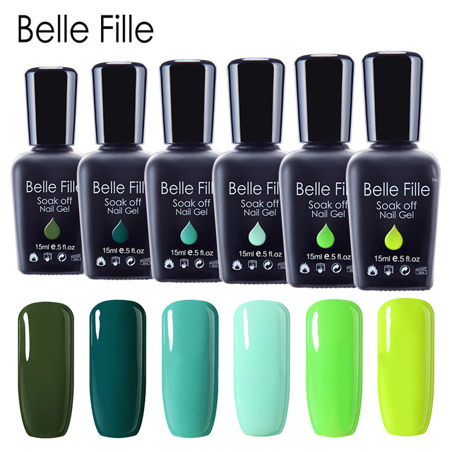 בל Fille ציפורניים ג 'ל פולני ירוק סדרת UV לכה מניקור איפור נייל אמנות עיצוב זית לכה UV ג' ל לק