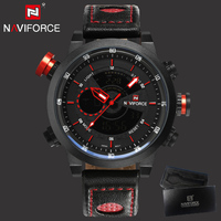 2017 Naviforce Sport Men Watches Men Waterproof Leather Band LED Quartz Wristwatch Military Male Clock Relogio