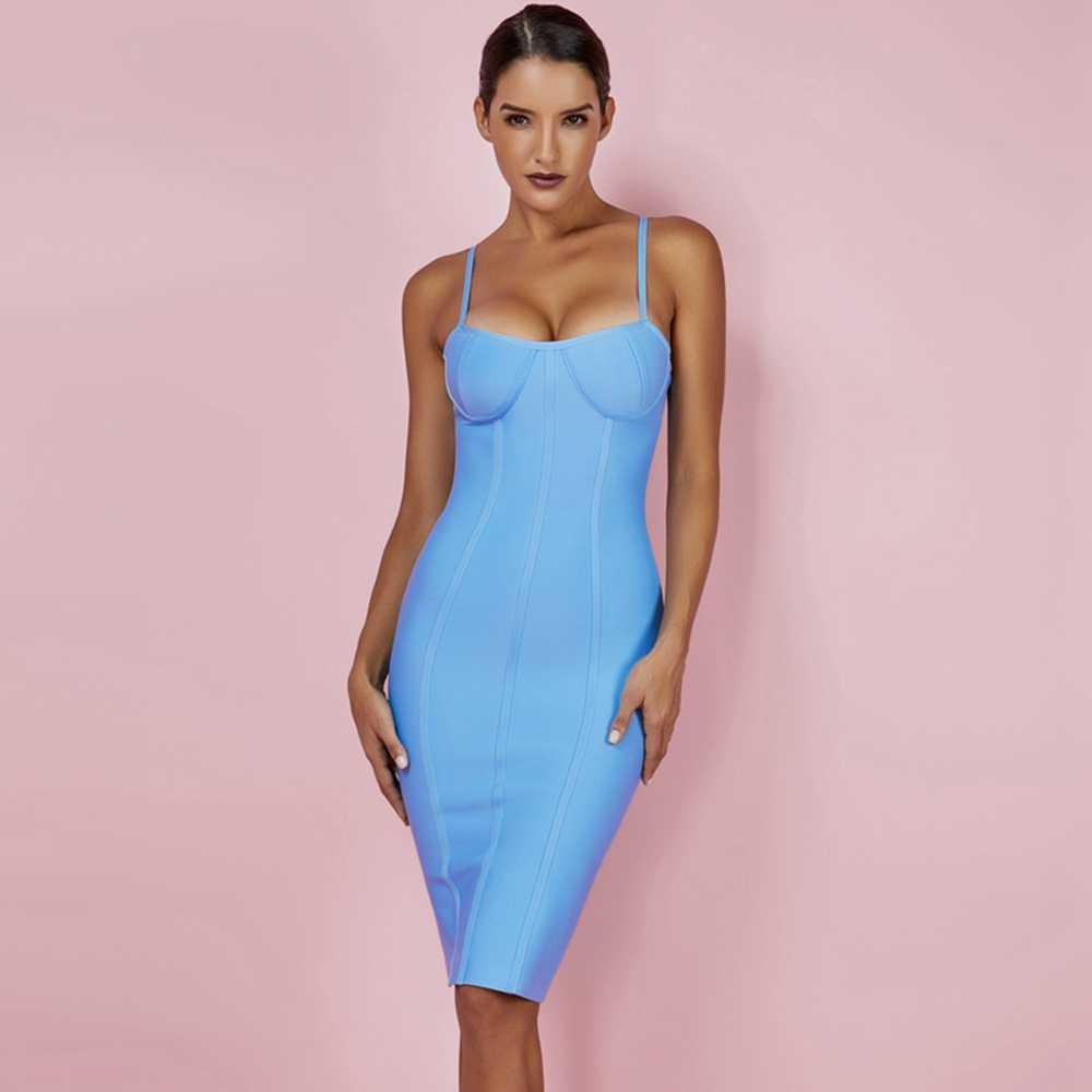Олень, только 9,9 долларов! Распродажа! Бандажное платье голубого цвета, облегающее Клубное вечернее платье знаменитости