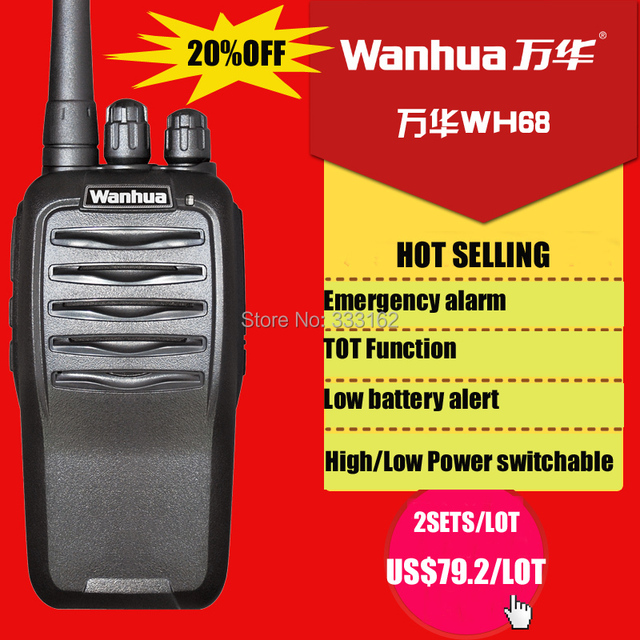 WH68 Free shipping handheld transceiver,  FM radio WANHUA walkie talkie