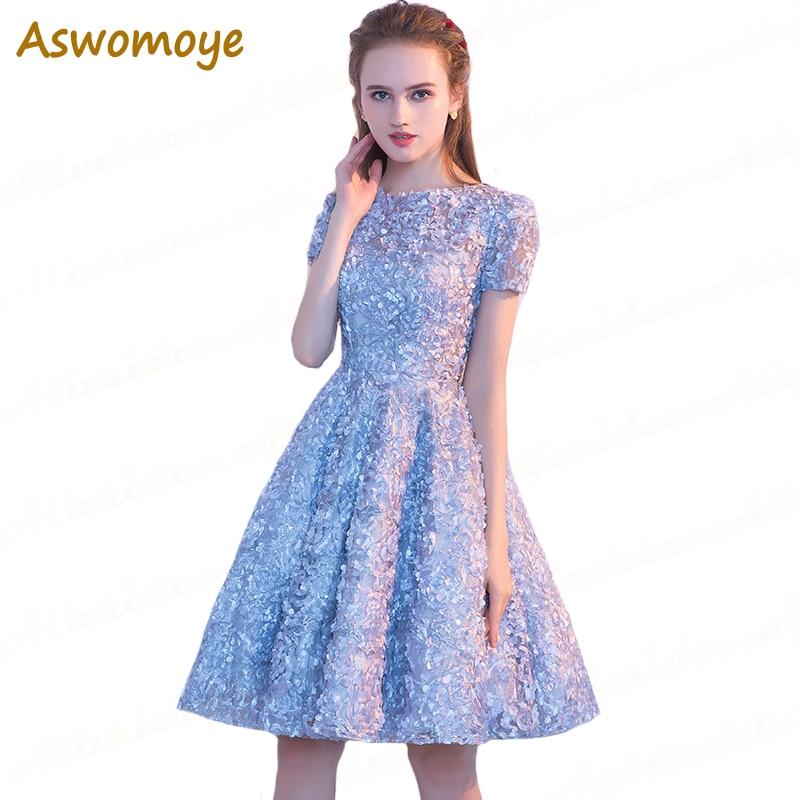 bd9bb1eab0d19e Sexy dos ouvert bleu marine dentelle courte robe de soirée en ...