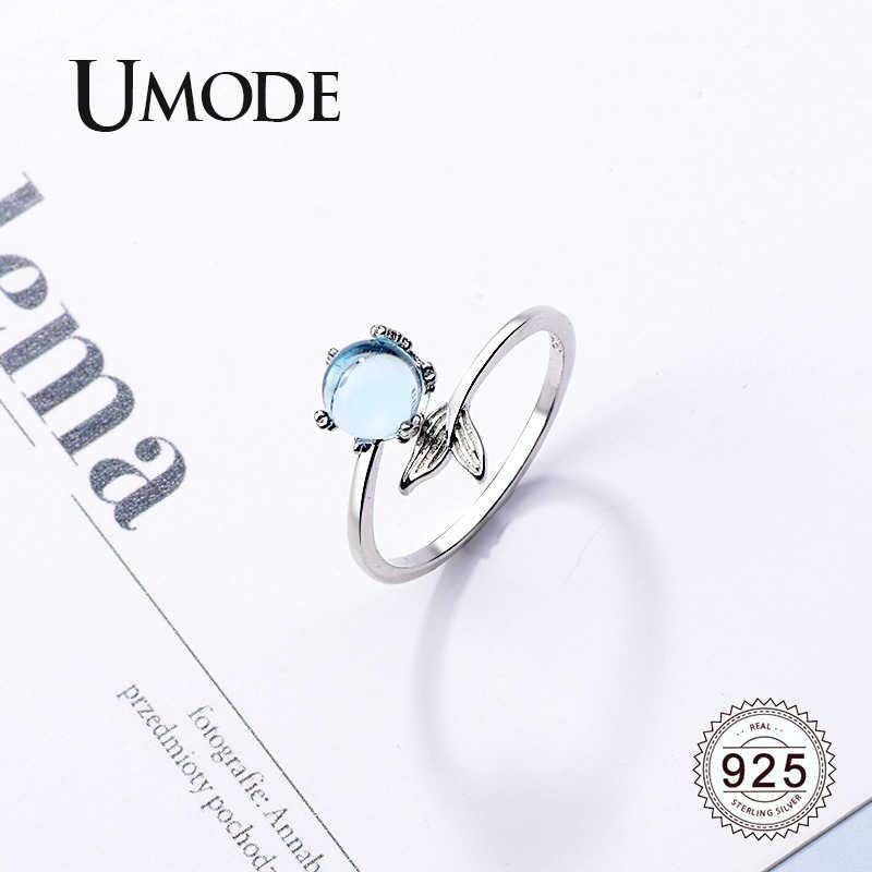 UMODE Mermaid Tail 925 เงินสเตอร์ลิงแหวนเงินผู้หญิงสาวโฟมลูกปัดรอบหินเปิดแหวนเงิน 925 เครื่องประดับของขวัญ LR0746