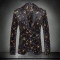 2016 recién llegado de otoño invierno delgado traje para hombre alta calidad banquete real hombres del terciopelo chaqueta prendas de vestir exteriores tamaño ml XL 2XL 3XL