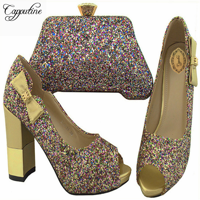 Capputine Latest African Woman Shoes And Bag Set Fashion Italian Rhinestone High Heels Shoes And Bag Set For Party BCH-31 capputine africa style shoes and bag set fashion woman high heels pumps shoes and bag set for party free shipping bch 27