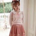 Princesa dulce lolita camisa BoBON21 diseño Original estilo de la universidad marino bordado cuello breve párrafo camisa de tejer T1270