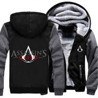 Abd boyutu erkekler kadınlar oyunu film assassins creed fermuar ceket kalınlaşmak hoodie coat clothing rahat