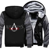 USA Size Men Women Game Movie Assassins Creed Zipper Jacket Thicken Hoodie Coat Clothing Casual
