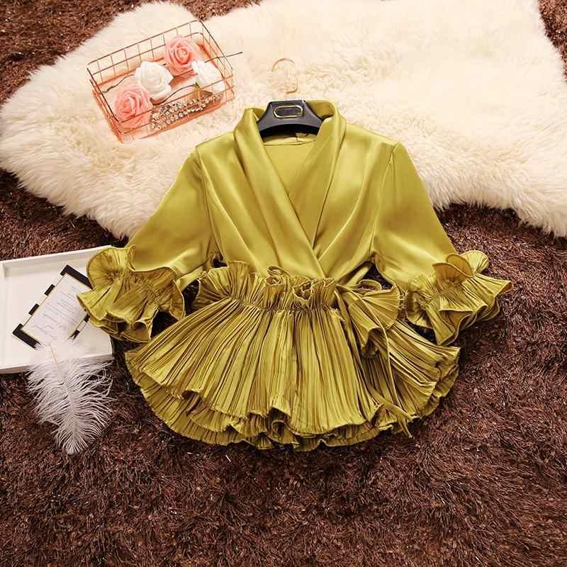 2019 lente herfst nieuwe vrouwelijke Diepe V-hals ruches lace up chiffon shirt vrouwen drie Kwart mouw shirts vrouwen blouses tops