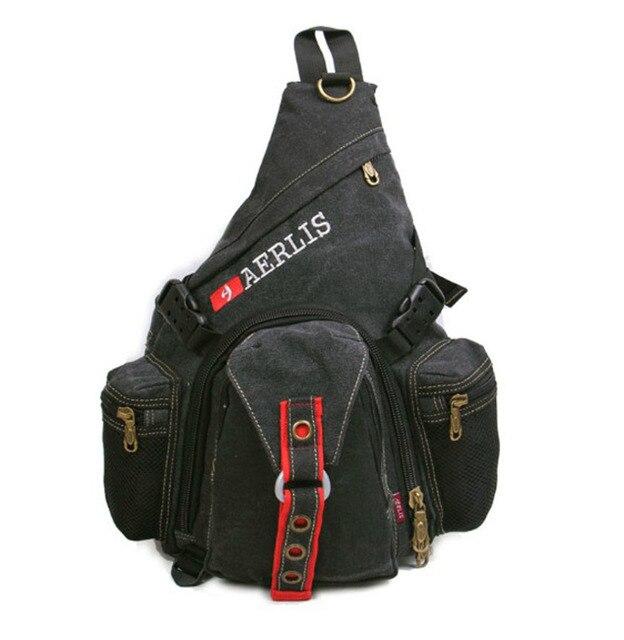 855154bb5b Men s Canvas High Capacity Travel Motorcycle Cross Body Messenger Shoulder  Sling Chest Bag