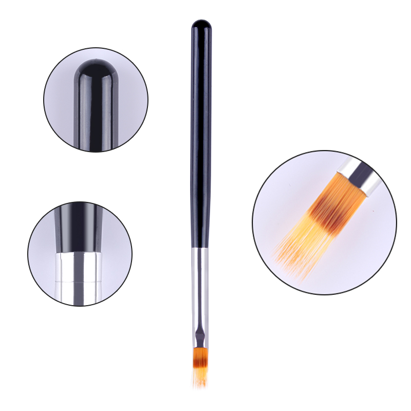 1 Unid UV Gel Brush Gradient Painting Pen Drawing Brush Mango De Madera Negro Manicura Nail Art Decoración Herramienta