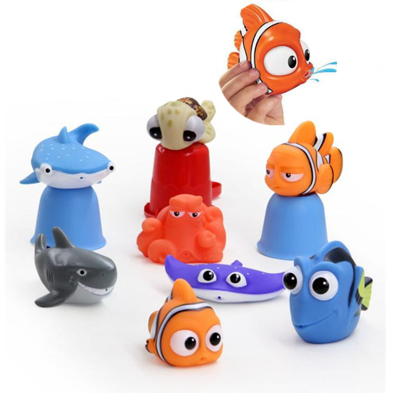 Cute Cartoon Sea Fish Model Baby Bath Toys Squeeze Sounding Debbling Toys Bathroom Girls Kids Play Float Water Rubber Animals mr froger aquatic creatures model toy shark wild animals toys zoo modeling set plastic solid sea life fish classic toys turtle