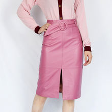 2019 Новая модная юбка из натуральной овечьей кожи e43