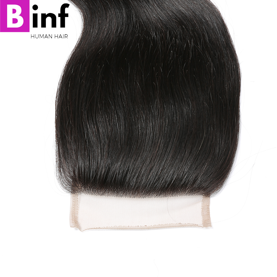BINF Hair 4*4 Lace Closure Brazilian Body Wave 100% Human Hair Free Part 130% Density Natural Color 10-20 inch Remy Hair