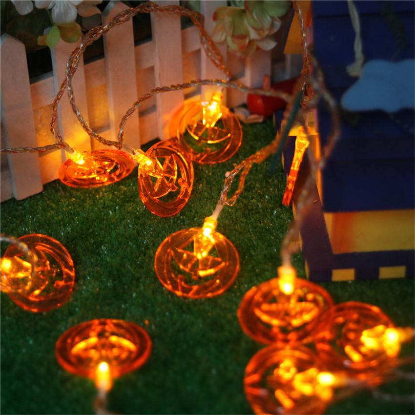 12m 10 bulbs pumpkin battery string led lights halloween holiday light lighting decoration led guirlande - Halloween Lights Thriller