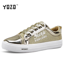 YOZO Women Shoes Fashion Patent Leather Lace Up Glod Slivery Shoes Women Flat Casual Shoes Brand Shoes Women Zapatos Mujer 2017