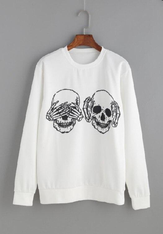 Frauen Fashion O ansatz Lange Sweatshirts Punk Funny Schädel Knochen Druck Plus Größe Pullover - 5