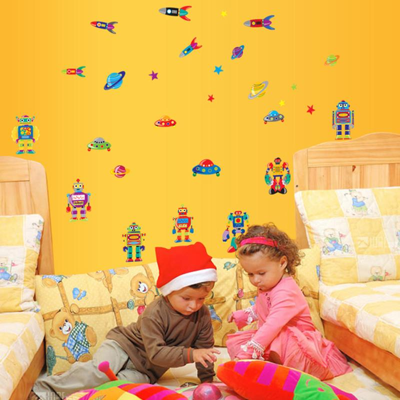 Aliens robot Cartoon Wallpaper For Kids Rooms Home Decor Art Decals ...