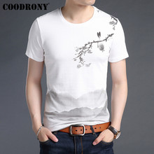 COODRONY T Shirt Men Soft Cotton Linen Short Sleeve T-Shirt 2019 Summer Chinese Style Painting O-Neck Tee Homme S95029