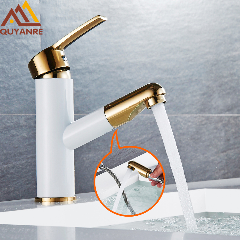 Quyanre Basin Faucet White Painting Golden Basin Sink Faucets Pull Out Spout Single Handle Mixer Tap Deck Mounted цена