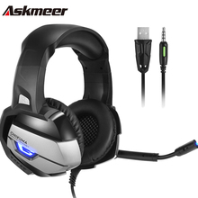 Askmeer PS4 Stereo Gaming Headset with Mic Best casque Deep Bass PC Game Headphones LED Lgiht for  Xbox one Laptop Gamer