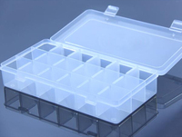 Clear 18 grid Plastic Jewelry Rings Display Holder Organizer Storage Beads Box Case For Houshhold 500sets