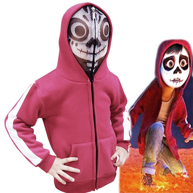 Anime Moive Coco Miguel Cosplay Costumes Kids Jackets Hoodies Red Sweatshirts Coat