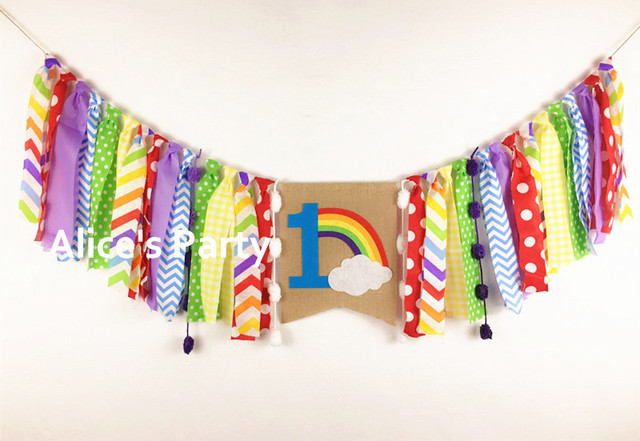 New Colorful Rainbow Theme Kids 1st 2 Birthday Party Banner Highchair Bunting Nursery Garland White Cloud Cake Smash Photo Prop